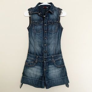 Guess Jeans  denim button fly romper with pockets